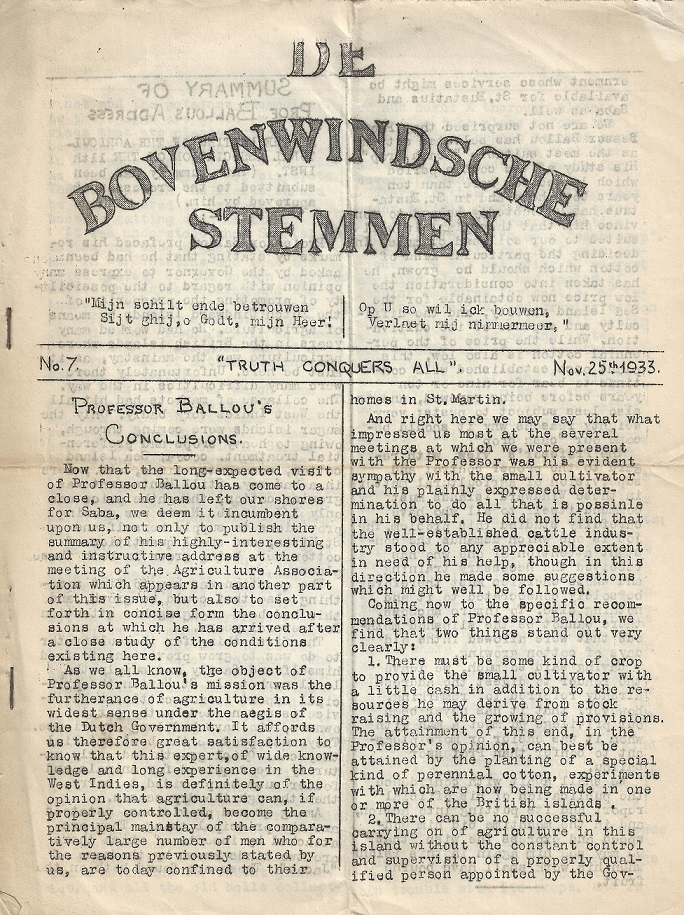 De Bovenwindse Stemmen - 1933 - gestencilde krant I collectie Aart G. Broek