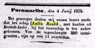 4 juni 1873-Aankomst Lalla Rookh in Suriname - Indie